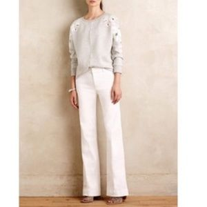 Wide Leg Cuffed Pant Trouser Ivory Banana Republic